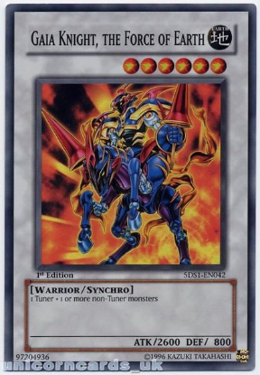 Picture of 5DS1-EN042 Gaia Knight, the Force of the Earth Super Rare 1st Edition Mint Card