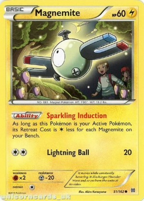 Picture of Magnemite 51/162 BKWK  Mint Pokemon Card