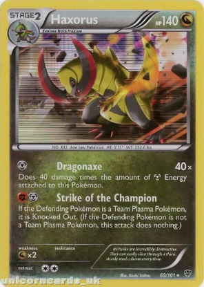 Picture of Haxorus 69/101 Plasma Blast Rare Holo Mint Pokemon Card