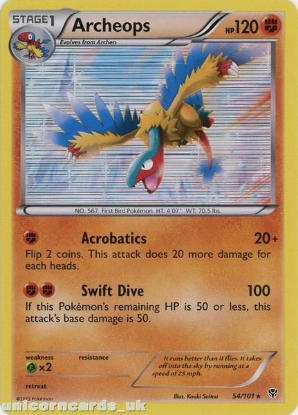 Picture of Archeops 54/101 Plasma Blast Rare Holo Mint Pokemon Card