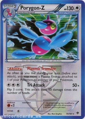 Picture of Porygon-Z 74/101 Plasma Blast Rare Holo Mint Pokemon Card