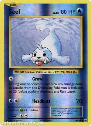 Picture of Seel 28/108 :: Evolutions ::  Reverse Holo Mint Pokemon Card