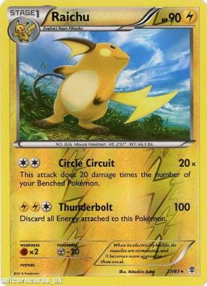 Picture of Generations 27/83 Raichu Reverse Holo Mint Pokemon Card