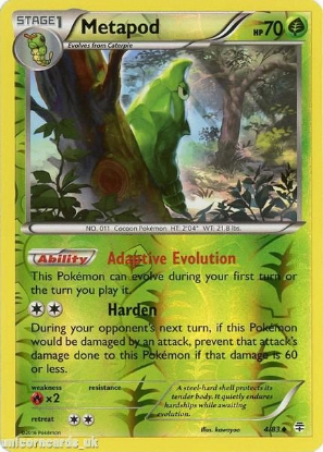 Picture of Generations 4/83 Metapod Reverse Holo Mint Pokemon Card