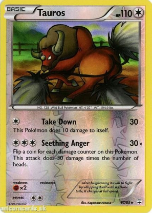 Picture of Generations 57/83 Tauros Reverse Holo Mint Pokemon Card