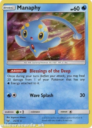 Picture of 25/73 Manaphy Rare Holo Mint Pokemon Card [Shining Legends]