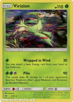 Picture of 8/73 Virizion Rare Holo Mint Pokemon Card [Shining Legends]