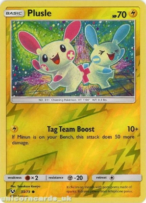 Picture of 33/73 Plusle Reverse Holo Mint Pokemon Card [Shining Legends]