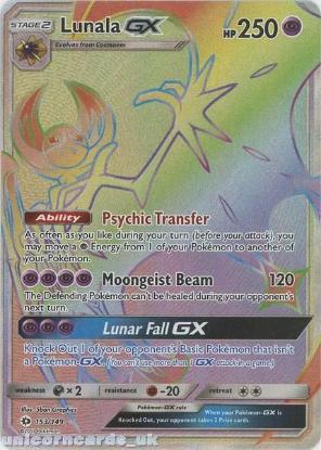 Picture of Lunala GX 153/149 Sun & Moon Rare Secret Mint Pokemon Card