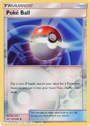 Picture of Poké Ball 125/149 Sun & Moon Reverse Holo Mint Pokemon Card