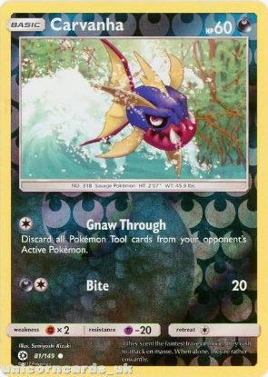 Picture of Carvanha 81/149 Sun & Moon Reverse Holo Mint Pokemon Card