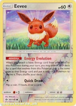 Picture of Eevee 101/149 Sun & Moon Reverse Holo Mint Pokemon Card