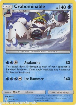 Picture of Crabominable 43/149 Sun & Moon Rare Mint Pokemon Card