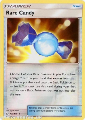 Picture of Rare Candy 129/149 Sun & Moon Reverse Holo Mint Pokemon Card