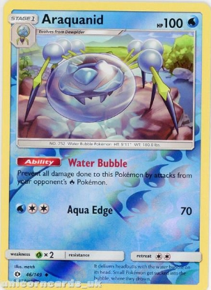 Picture of Araquanid 46/149 Sun & Moon Reverse Holo Mint Pokemon Card