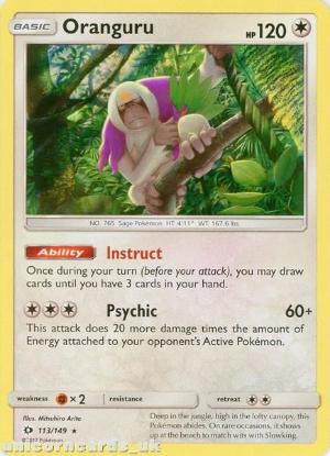 Picture of Oranguru 113/149 Sun & Moon Rare Holo Mint Pokemon Card