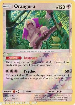 Picture of Oranguru 113/149 Sun & Moon Reverse Holo Mint Pokemon Card