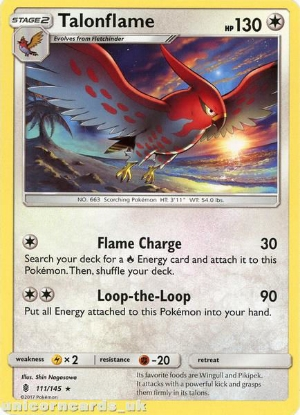 Picture of Talonflame 111/145 Guardians Rising  Rare Mint Pokemon Card