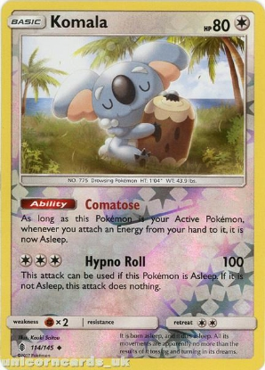 Picture of Komala 114/145 Guardians Rising  Reverse Holo Mint Pokemon Card