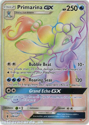 Picture of Primarina GX 149/145 Guardians Rising  Rare Secret Mint Pokemon Card
