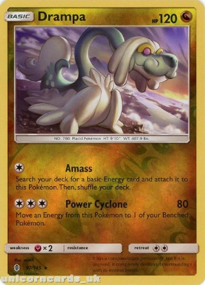 Picture of Drampa 97/145 Guardians Rising  Reverse Holo Mint Pokemon Card