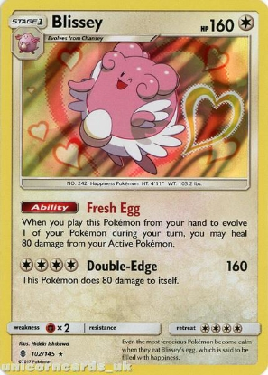 Picture of Blissey 102/145 Guardians Rising  Rare Holo Mint Pokemon Card