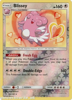 Picture of Blissey 102/145 Guardians Rising  Reverse Holo Mint Pokemon Card