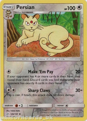 Picture of Persian 126/181 Reverse Holo :: Team Up :: Mint Pokemon Card