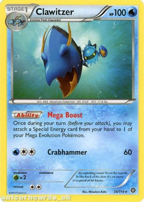 Picture of Clawitzer 34/114 :: Steam Siege ::  Rare Mint Pokemon Card
