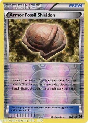 Picture of Armor Fossil Shieldon 98/114 :: Steam Siege ::  Reverse Holo Mint Pokemon Card