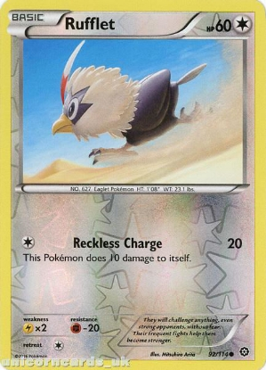 Picture of Rufflet 92/114 :: Steam Siege ::  Reverse Holo Mint Pokemon Card