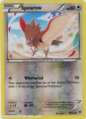 Picture of Spearow 78/119 Phantom Forces Reverse Holo Mint Pokemon Card