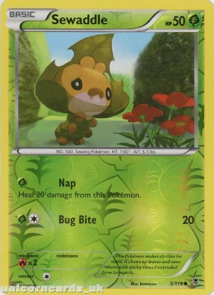 Picture of Sewaddle 5/119 Phantom Forces Reverse Holo Mint Pokemon Card