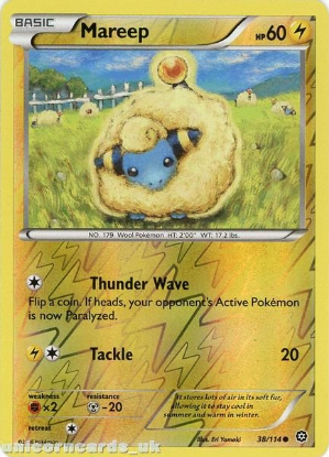 Picture of Mareep 38/114 :: Steam Siege ::  Reverse Holo Mint Pokemon Card