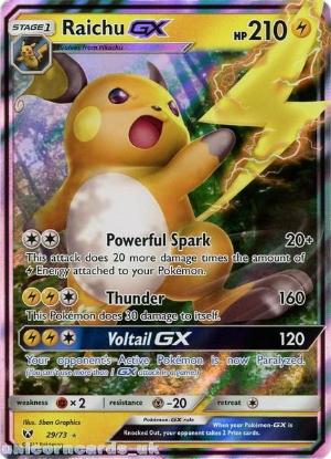 Picture of 29/73 Raichu GX Ultra Rare Mint Pokemon Card [Shining Legends]