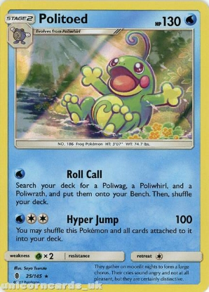 Picture of Politoed 25/145 Guardians Rising  Rare Holo Mint Pokemon Card
