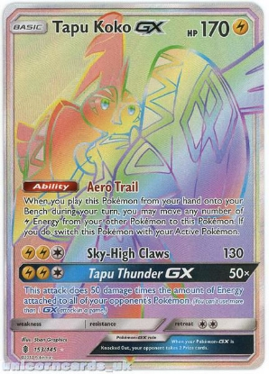 Picture of Tapu Koko GX 153/145 Guardians Rising  Rare Secret Mint Pokemon Card