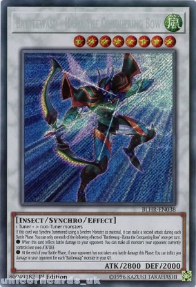 Picture of BLHR-EN038 Battlewasp - Hama the Conquering Bow Secret Rare 1st Edition Mint YuGiOh Card