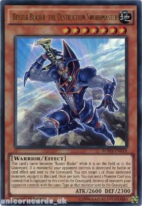 Picture of BOSH-EN018 Buster Blader, the Destruction Swordmaster Ultra Rare 1st edition Mint YuGiOh Card