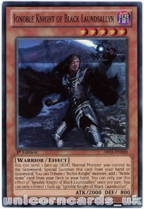 Picture of ABYR-EN000 Ignoble Knight of Black Laundsallyn Super Rare 1st Edition Card