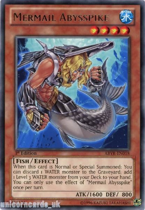 Picture of ABYR-EN018 Mermail Abysspike Rare 1st Edition Mint YuGiOh Card