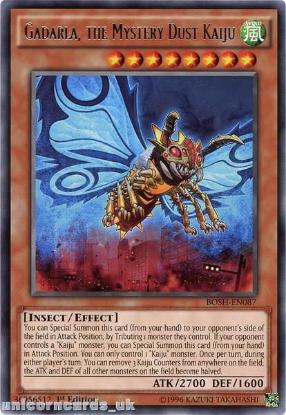 Picture of BOSH-EN087 Gadarla, the Mystery Dust Kaiju Rare 1st edition Mint YuGiOh Card