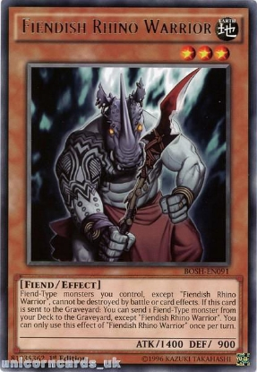 Picture of BOSH-EN091 Fiendish Rhino Warrior Rare 1st edition Mint YuGiOh Card