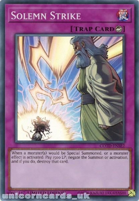 Picture of COTD-ENSE2 Solemn Strike Super Rare Limited Edition Mint YuGiOh Card