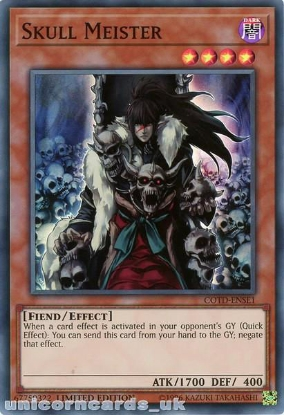 Picture of COTD-ENSE1 Skull Meister Super Rare Limited Edition Mint YuGiOh Card
