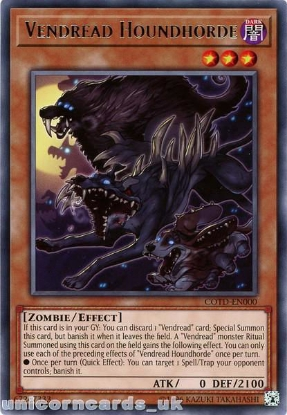 Picture of COTD-EN000 Vendread Houndhorde Rare UNL Edition Mint YuGiOh Card