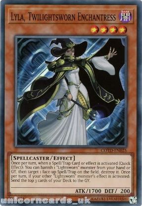 Picture of COTD-EN025 Lyla, Twilightsworn Enchantress Super Rare UNL Edition Mint YuGiOh Card