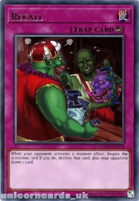 Picture of COTD-EN078 Recall Rare UNL Edition Mint YuGiOh Card