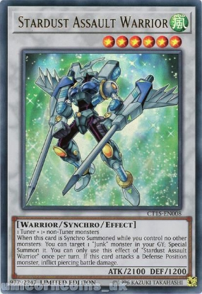 Picture of CT15-EN008 Stardust Assault Warrior Ultra Rare Limited Edition Mint YuGiOh Card