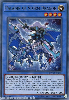 Picture of CYHO-EN031 Paladin of Storm Dragon Rare UNL Edition Mint YuGiOh Card